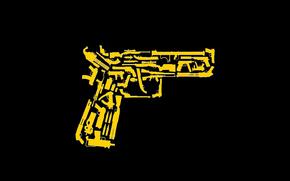 sfondo, pistola, disegno, nero, giallo