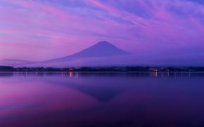 Хонсю, океан, облака, вулкан, Фудзияма, небо, гора, залив, сиреневое, вечер, отражение, туман, Япония