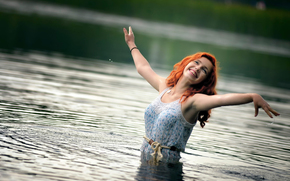 in water, laughter, Ira, redhead