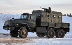 Звезда-В, пулеметчик, снег, Бронеавтомобиль