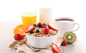 health, coffee, breakfast, juice, food, food, muesli, fruit
