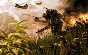 weapon, Vietnam, Explosions, soldiers, wounded, fight, jungle, helicopters