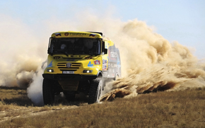 sand, truck, yellow, Race, dust, Other brands, Front, Day