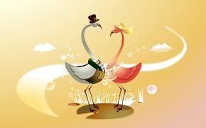 свадьба, арт, праздник, жених, невеста, вектор, птицы, настроение