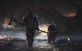 armor, weapon, Art, dark, gloom, rain, grill