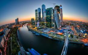 Bagration, Capitale, Mercury City Tower, Fédération, pont, Rivière de Moscou, coucher du soleil, Moscow City, Évolution, Eurasie, Moscou, Embankment Tour