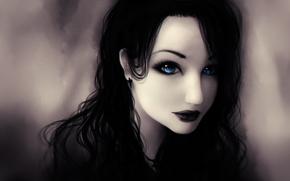синие глаза, крест, Девушка