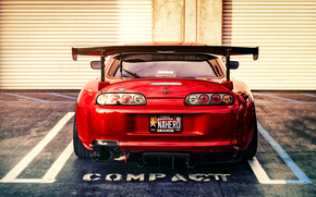 back view, red, tuning, sports car, Toyota