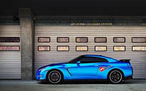 niebieski, avtooboi, Nissan, Nissan