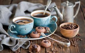 Grain, kettle, cups, cookies, coffee, chocolate, service