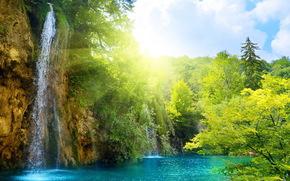 瀑布, 天空, 水, 晴朗, 森林, 太阳