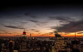 panorama, casa, Nova Iorque, construção, O Empire State Building, noite, ver, Nuvens, cidade, EUA, luzes, laranja, pôr do sol, Prédios, Manhattan, céu, Arranha-céus