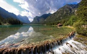 озеро, природа, камни, домик, пейзаж, горы, лес, фото