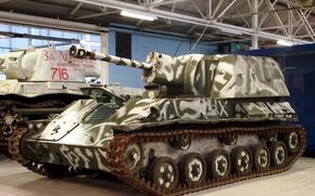 facile, pesante, artiglierie semoventi, Sovietico, serbatoio, museo, WWII, Sovietica, installazione