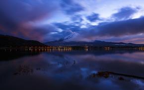 Япония, океан, небо, синее, гора, ночь, Фудзияма, облака, вулкан, Хонсю, залив, отражение
