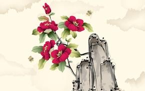 мошка, арт, акварель, цветы
