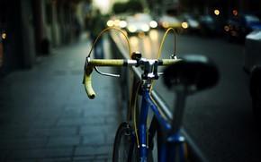 дорога, автомобиль, велосипед, широкоэкранные, полноэкранные, машина, огни, фон, настроения, город, улица, боке, обои, широкоформатные, размытие, велик. руль, вечер, фары