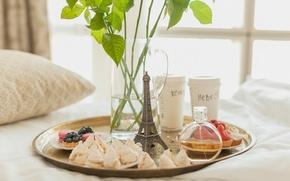desayuno, pastel, galletas, bandeja, mañana, ventana, jarra, amortiguar, París