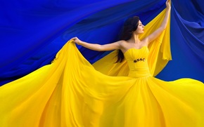 girl, flag, Ukraine, Independence Day