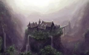 рисунок, обрыв, водопад, дом