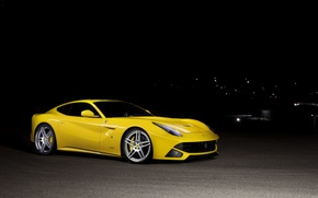 Ferrari, notte, vista frontale, Ferrari, tonica, giallo