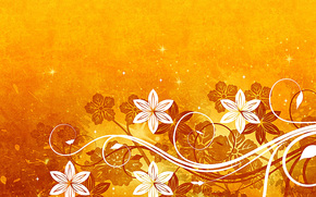 Flowers, Star, yellow background