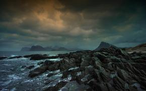 sea, storm, CLOUDS, Rocks