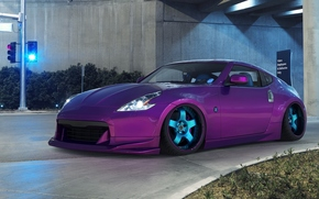lilac, Nissan, Car, TRAFFIC LIGHT, tunnel, Purple, Nissan, purple, intersection, road, machine