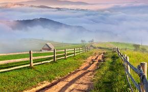 villaggio, nebbia, Montagne, prati, stradale, erba