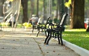 A bench, wallpaper, greens, background, bench, street, grass, park, Mood, Widescreen, foliage, fullscreen, square, Widescreen, shop, bench