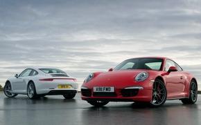 cielo, Porsche, rosso, Porsche, bianco, Karerra