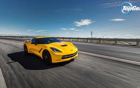Corbeta, el mejor programa de televisión, Stingray, Chevrolet, Top Gear, marcha más, cielo, Chevrolet, Frente, amarillo, carretera
