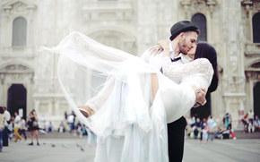 свадьба, жених, шляпа, платье, невеста, влюбленные