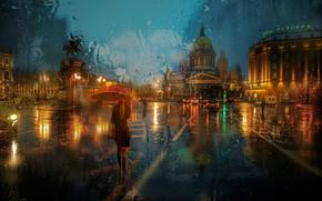 St. Isaac's Square, umbrella, rain, girl, Peter