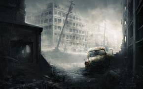 руины, машина, дождь, остов, постапокалипсис, город, арт