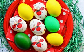 тарелка, пасха, праздник, яйца, рисунок