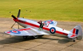 скоростной истребитель, пилот, британский, готовность к взлёту, самолёт, взлётное поле