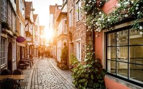люди, улица, брусчатка, цветы, город, Германия, столики, здания, дорога, окна, дома