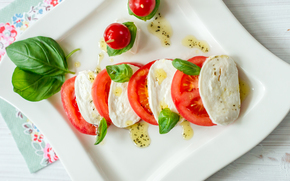appetizer, salad, oil, basil, Caprese, mozzarella, tomatoes, cheese