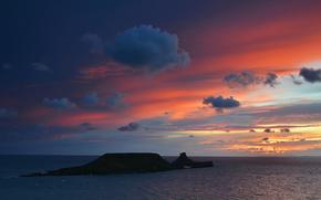 Уэльс, Великобритания, закат, облака, море, небо, вечер, остров, океан