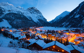 Roof, Alps, road, winter, Vanoise, lights, evening, Mountains, home, village, light, snow, France, building