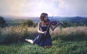 girl, violin, Music