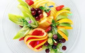 kiwi, grapes, apple, banana, strawberries, dish, fruit, Lemon, grapefruit, pineapple, salad, mint