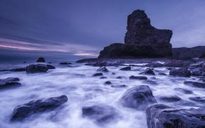 берег, небо, залив, камни, пейзаж, фиолетовое, скалы, Шотландия, Великобритания, сиреневое, вечер