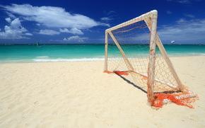 спорт, пляж, ворота, море