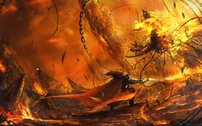 Chain, battle, monster, weapon, warrior, Art, fire