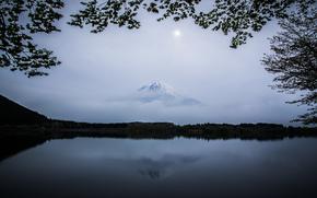 небо, облака, гора, Фуджи, вулкан, Япония, озеро