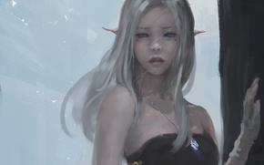 синие глаза, ветер, девушка, Эльф, кулон