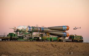 космический, Союз, доставка, Другая техника, поезд, корабль, Байконур, ракета