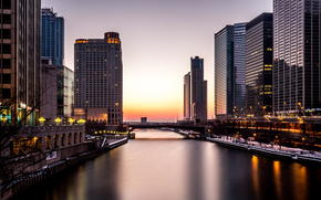 America, Skyscrapers, evening, river, lights, Illinois, building, Chicago
